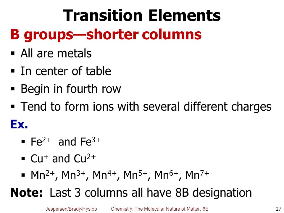 Chapter 3 elements compounds and the periodic table ppt video 27 transition urtaz Gallery