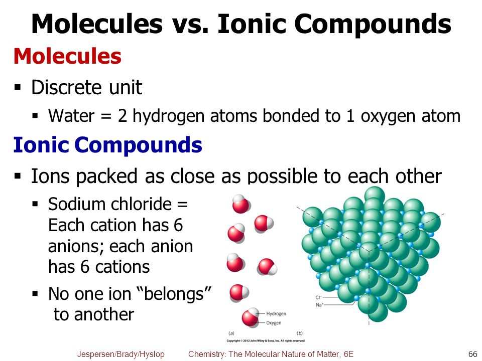 ionic and molecular compounds on line What is the difference between ionic and molecular compounds ionic compounds occur through the interaction between cations and anions molecular compounds.