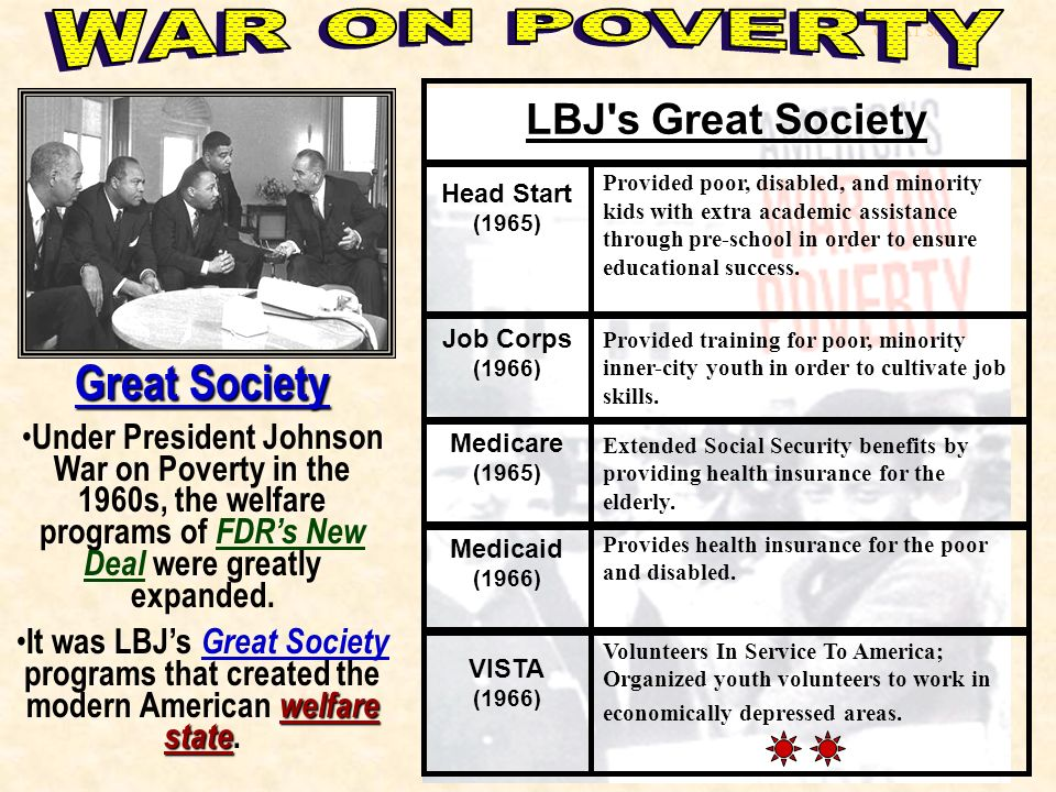 an analysis of the great society a program created by president johnson in the 1960s Lyndon johnson on welfare & poverty stayed about the same since lyndon johnson's great society of the mid-1960s program source: a very human president.