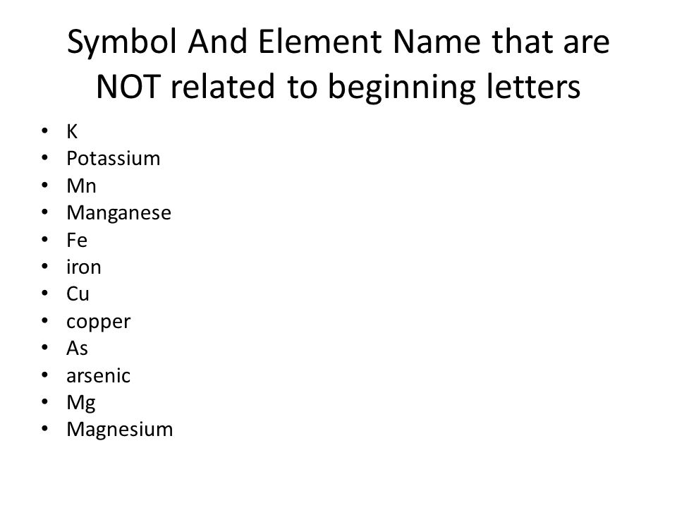 Fundamentals of periodic table ppt download symbol and element name that are not related to beginning letters urtaz Image collections