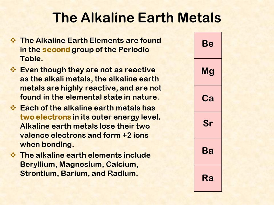 The periodic table of the elements ppt download the alkaline earth metals urtaz Gallery