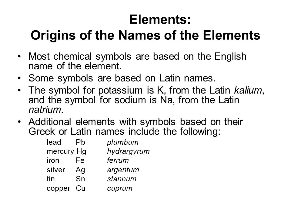 latin names of elements pdf