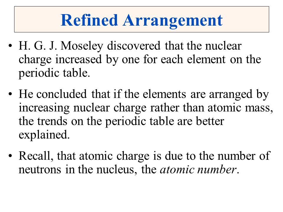 Christopher g hamaker illinois state university normal il ppt refined arrangement h g j moseley discovered that the nuclear charge increased by one for each element on urtaz Choice Image