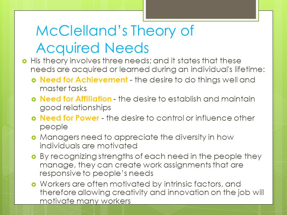 McClelland's Theory of Acquired Needs