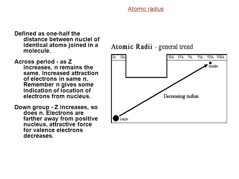 Atomic radius Defined as one-half the distance between nuclei of identical atoms joined in a molecule.