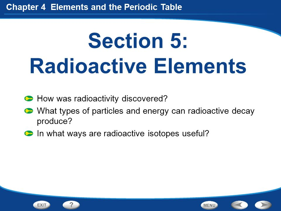 Table of contents chapter preview 41 introduction to atoms ppt section 5 radioactive elements urtaz Image collections