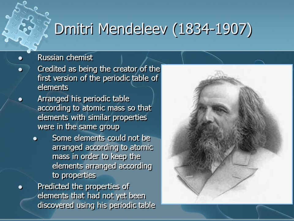 an analysis of the life and contributions of dmitri ivanovich mendeleev a russian chemist and invent Robert boyle: inventions, atomic theory & discoveries  a chemist by both  education and trade, dmitri mendeleev helped to transform the world of science  with his way of organizing the elements mendeleev was born in russia, where  he spent much of his  general studies science: help & review.
