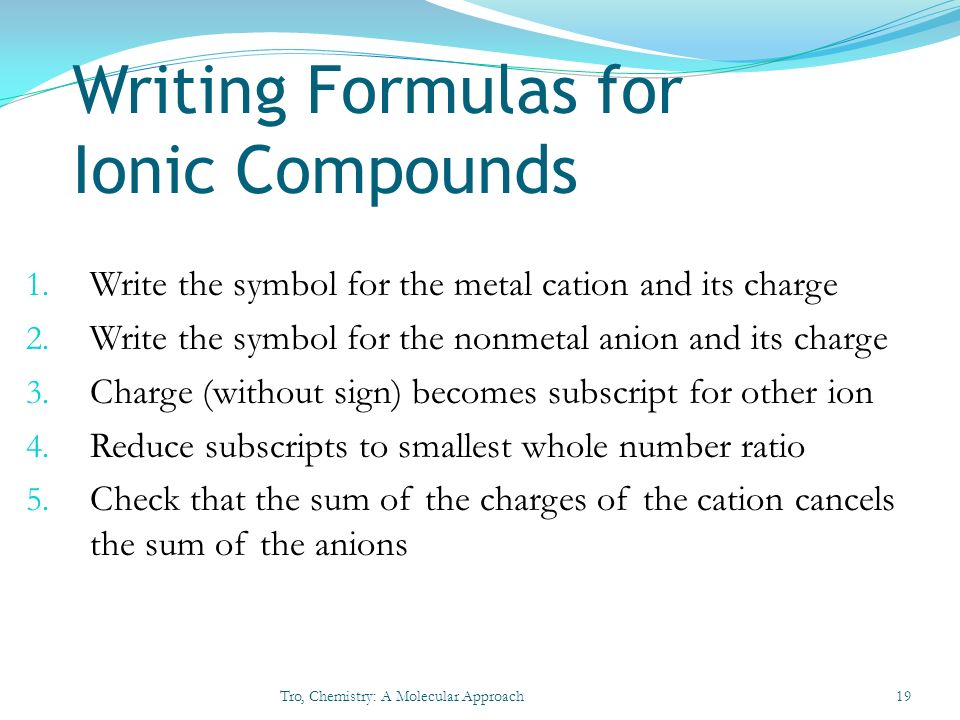 writing formulas for ionic compounds Naming ionic compounds – answer key naming covalent compounds solutions write the formulas for the following covalent compounds: 1) antimony tribromide sbbr 3.