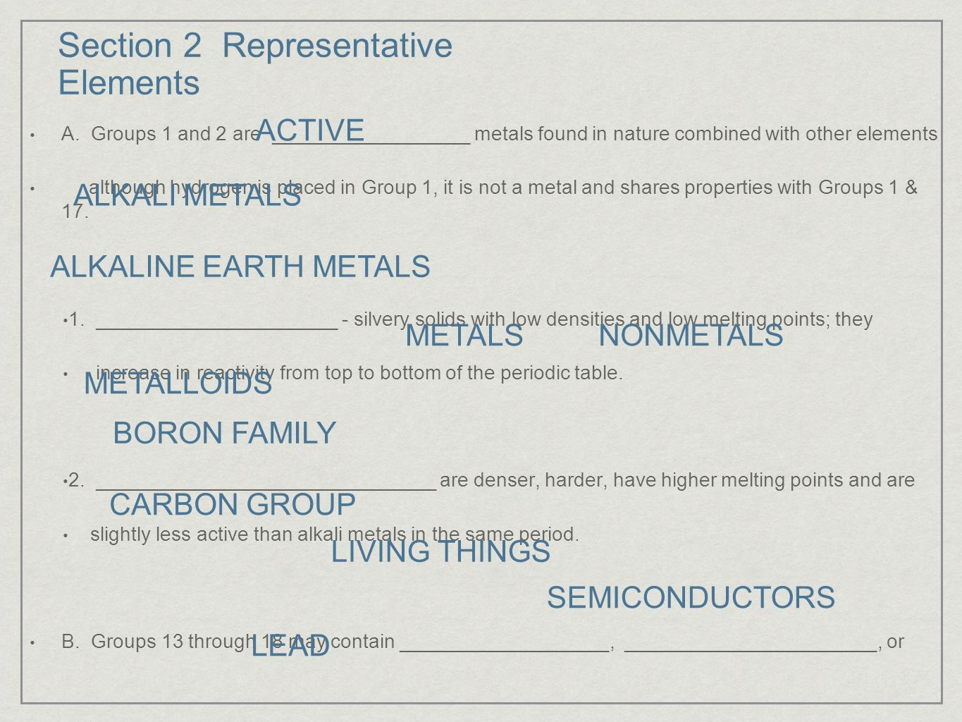 Section 1 introduction to the periodic table ppt video online 10 section 2 representative elements gamestrikefo Gallery