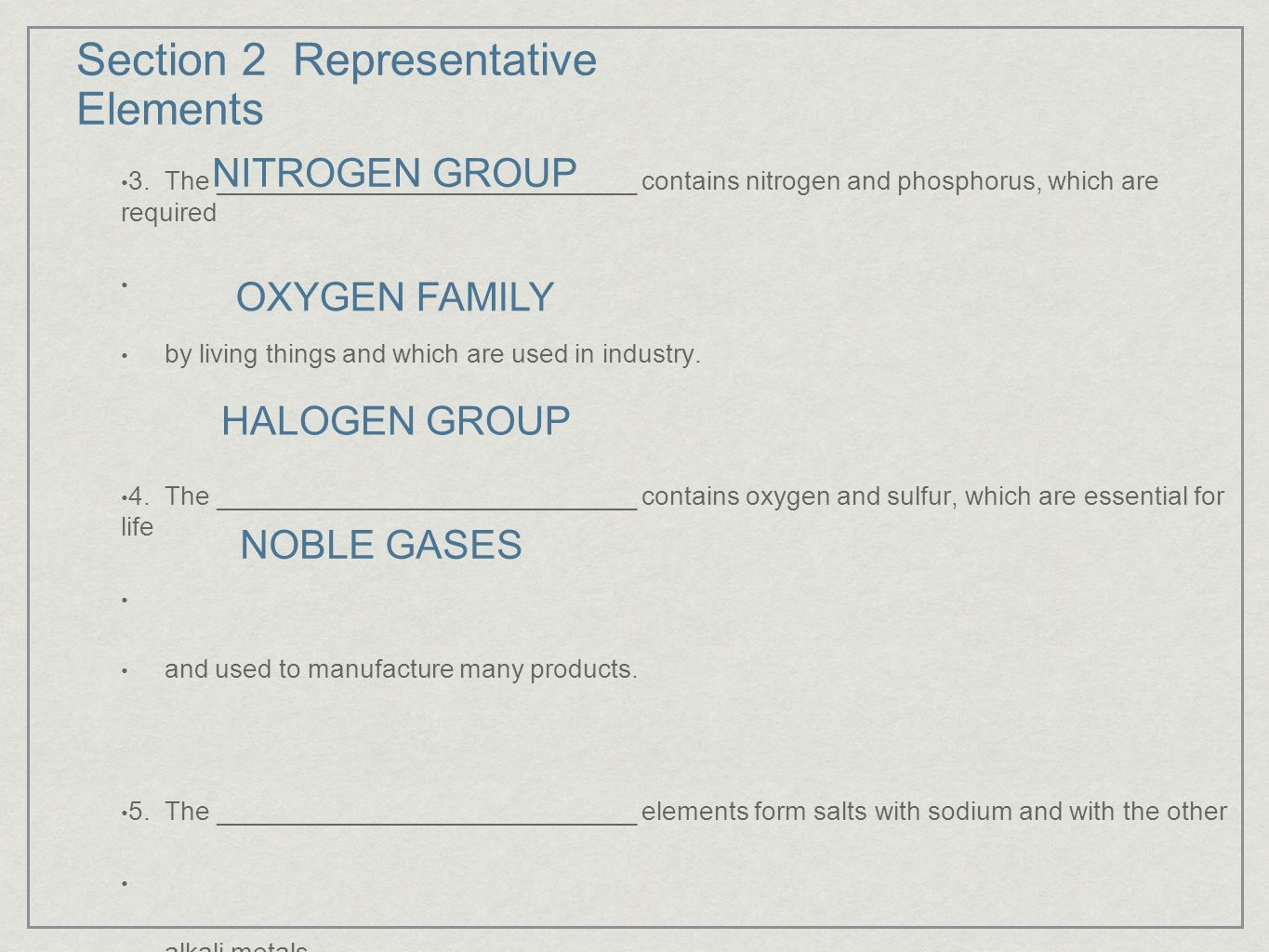 Section 1 introduction to the periodic table ppt video online section 2 representative elements gamestrikefo Images
