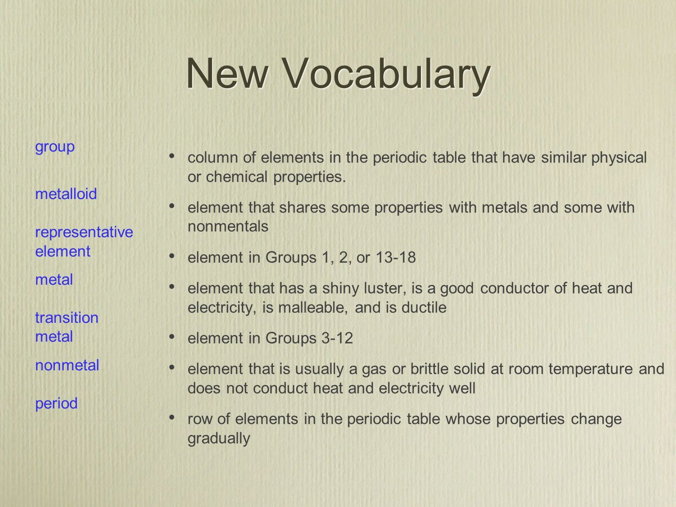 Section 1 introduction to the periodic table ppt video online new vocabulary group metalloid representative element metal transition nonmetal gamestrikefo Image collections