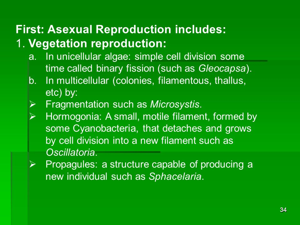 First: Asexual Reproduction includes: 1. Vegetation reproduction: