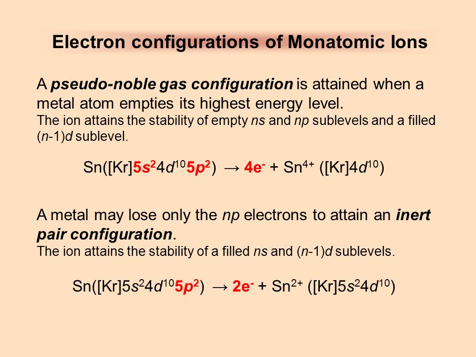 electron configuration in the formation of ions When they form cations, the group 1,2 and 3 you will write electron configurations for many of the ions contained in the solutions.