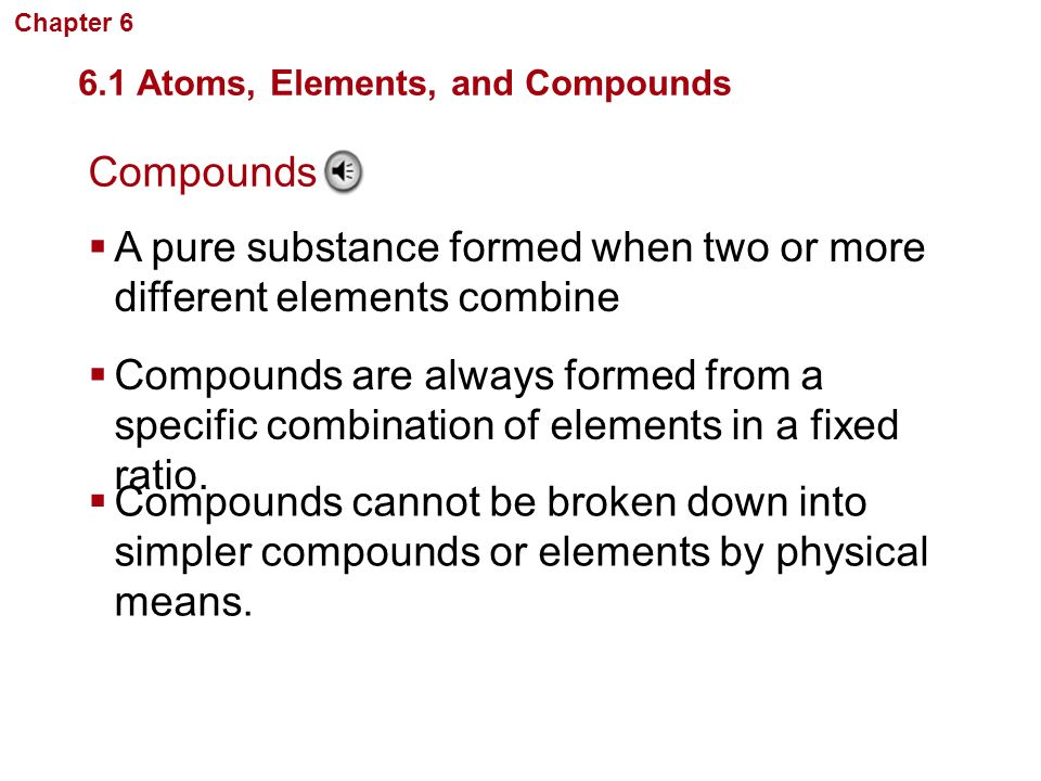 A pure substance formed when two or more different elements combine