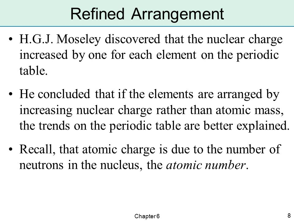 Arrangement of the elements ppt video online download refined arrangement hgj moseley discovered that the nuclear charge increased by one for each element on urtaz Choice Image