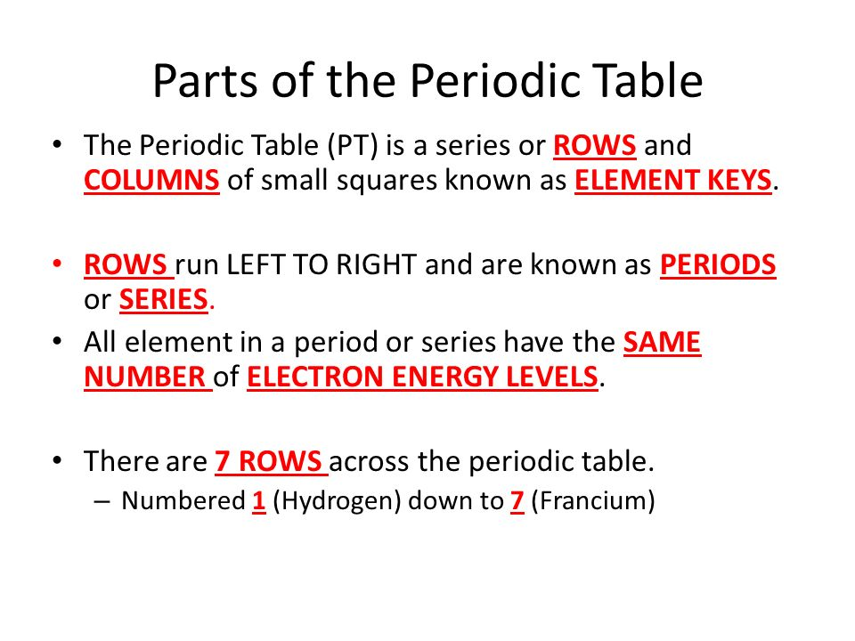 Periodic Table what row is hydrogen in on the periodic table : The Periodic Table. - ppt video online download