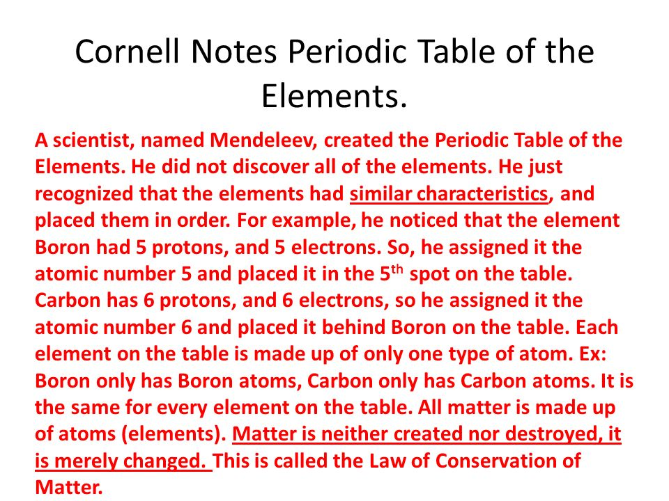 Cornell notes periodic table of the elements ppt video online cornell notes periodic table of the elements urtaz Image collections