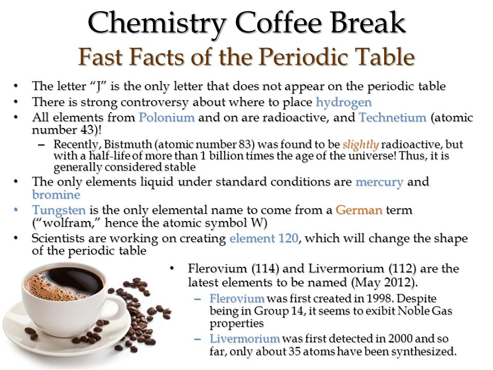 The atom introduction to the periodic table ppt video online download 13 chemistry coffee break fast facts of the periodic table the letter j urtaz Image collections