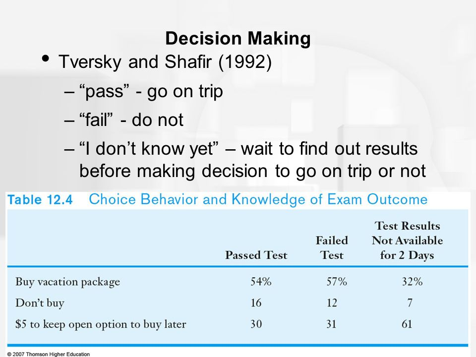the process of decision making in the words of shafir and tversky Making research covers all of the processes involved in deciding on a course of  action  tversky and kahneman's (1974) one-word definitions are vague and  fail to make  tversky and shafir (1992) and kahneman and tversky (1984)  found.