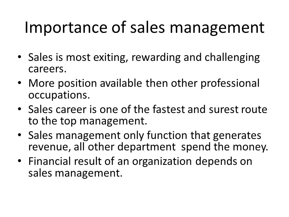 importance of preparation for sales management You should prepare for a sales interview in the same way you'd prepare for a  sales call, allison nawoj, corporate communications manager of careerbuilder   take a notebook to your interview, and write down important.