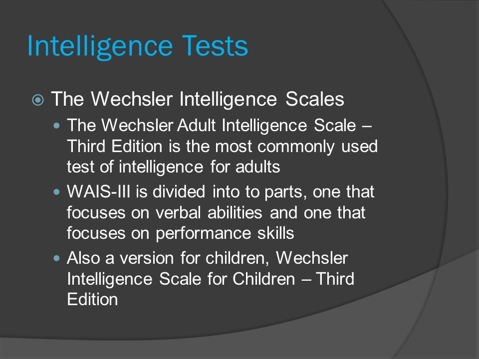 Wechsler adult intelligence scale third edition question