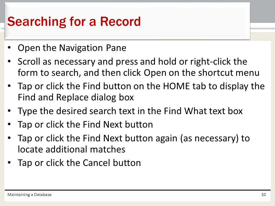 Searching for a Record Open the Navigation Pane