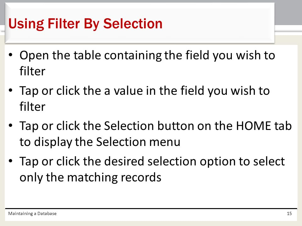 Using Filter By Selection