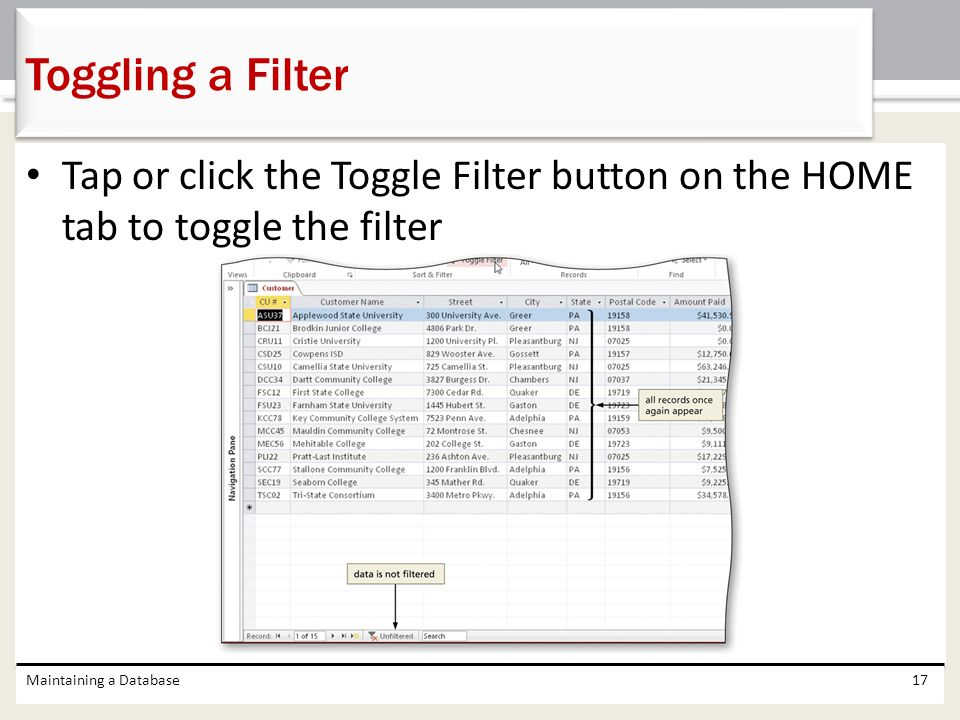 Toggling a Filter Tap or click the Toggle Filter button on the HOME tab to toggle the filter.