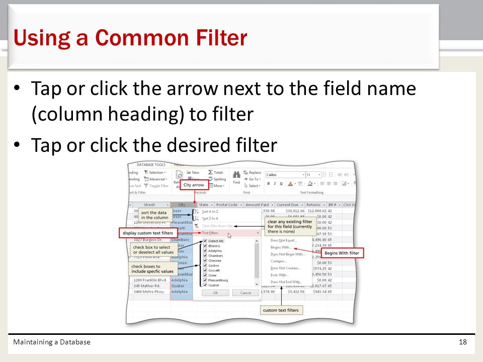 Using a Common Filter Tap or click the arrow next to the field name (column heading) to filter. Tap or click the desired filter.