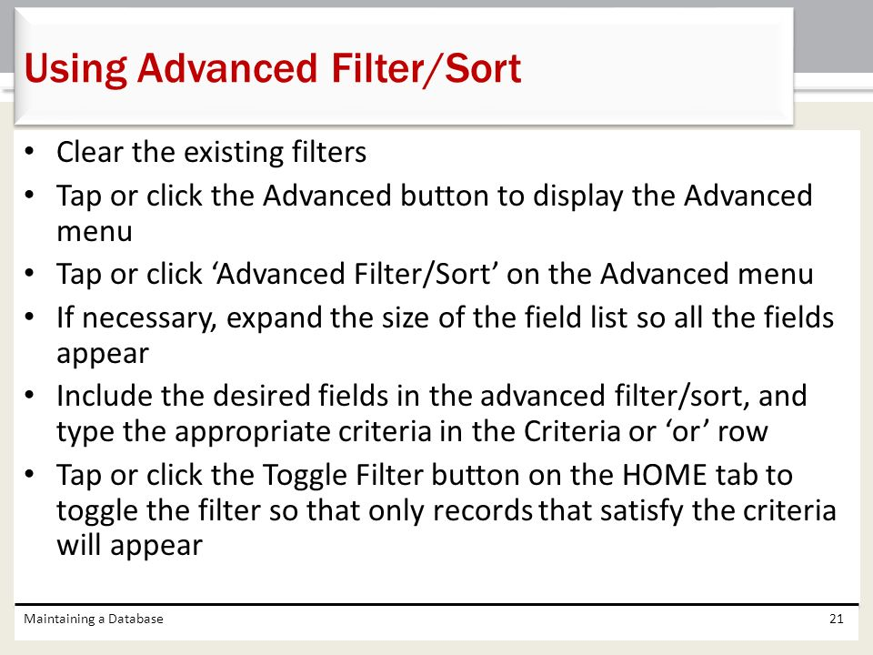 Using Advanced Filter/Sort
