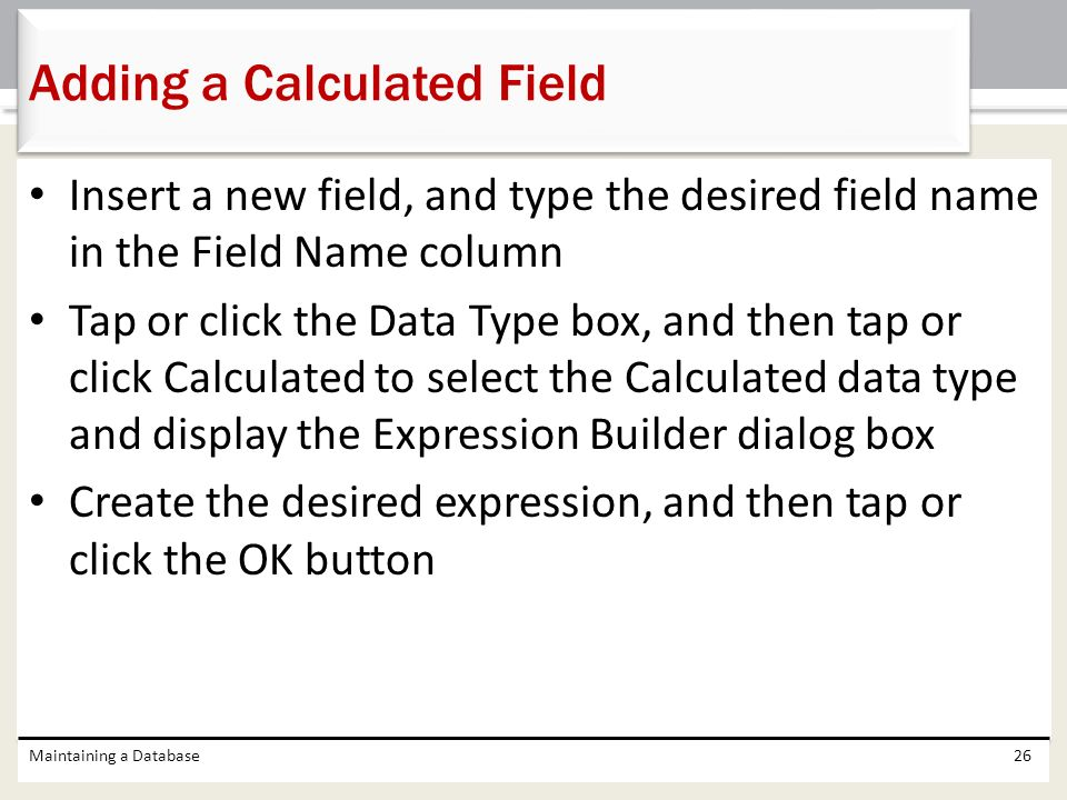 Adding a Calculated Field
