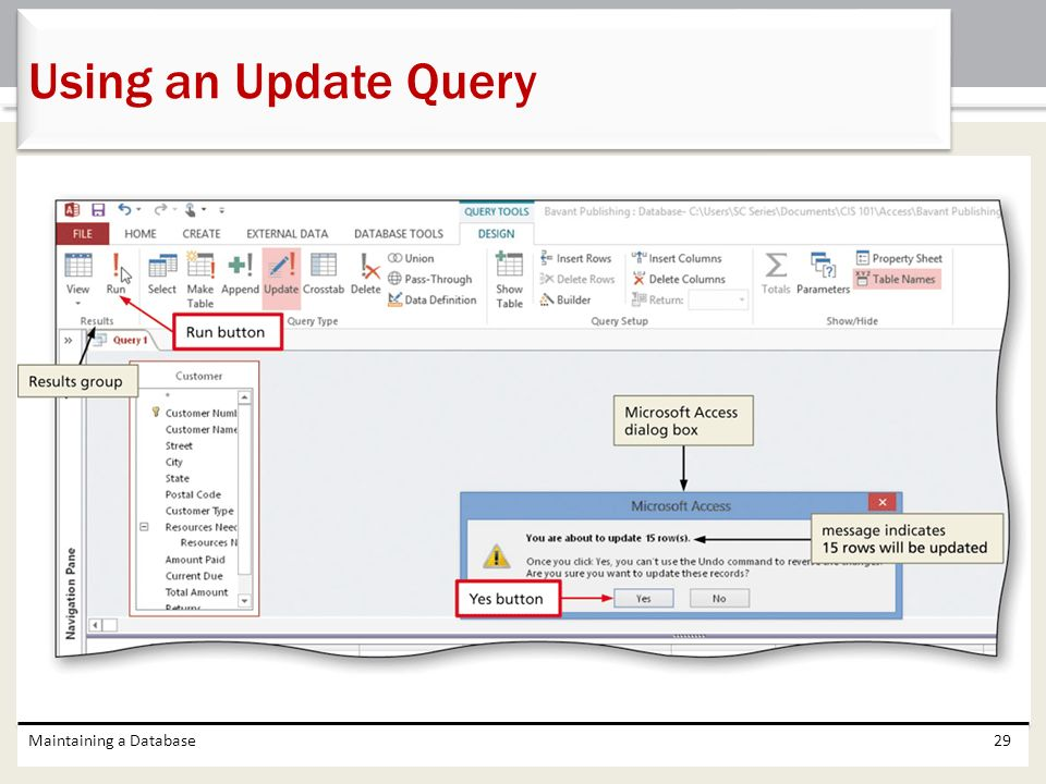 Using an Update Query Maintaining a Database