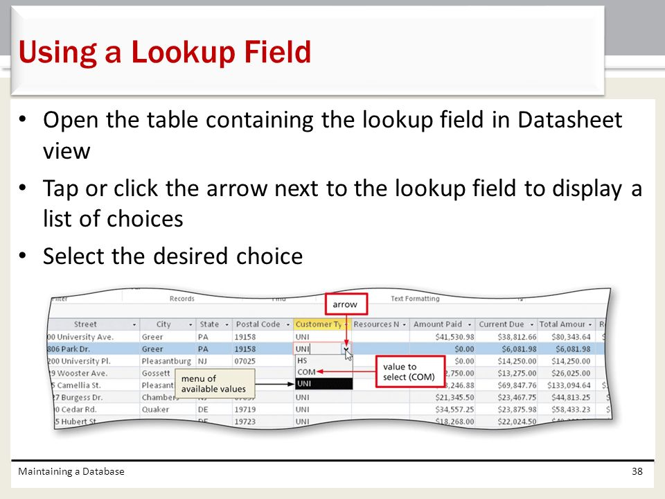 Using a Lookup Field Open the table containing the lookup field in Datasheet view.
