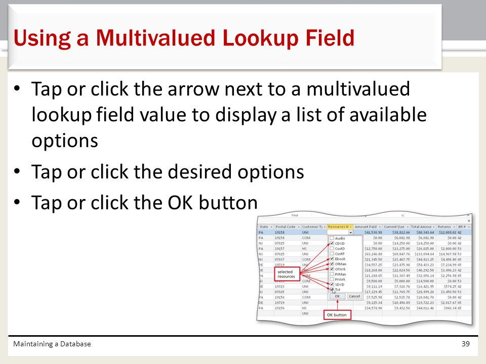 Using a Multivalued Lookup Field