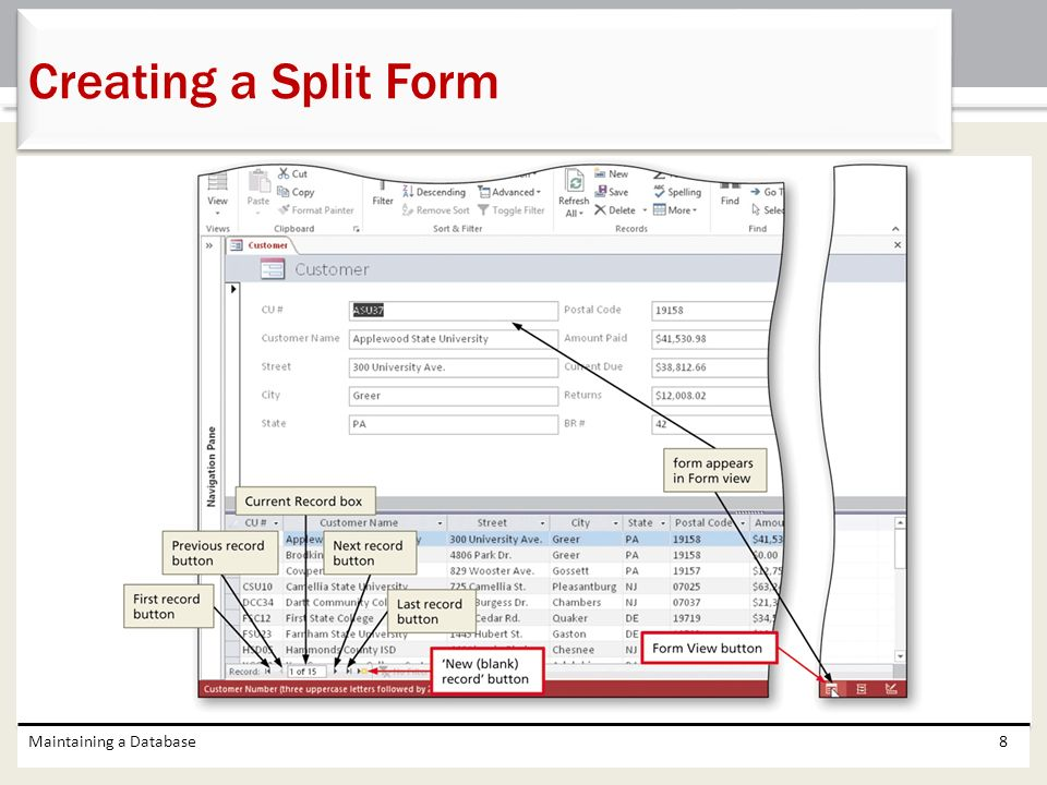 Creating a Split Form Maintaining a Database