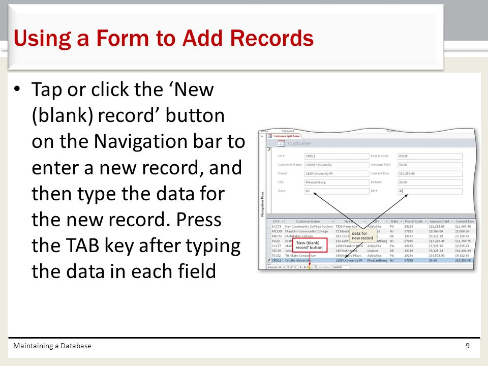Using a Form to Add Records
