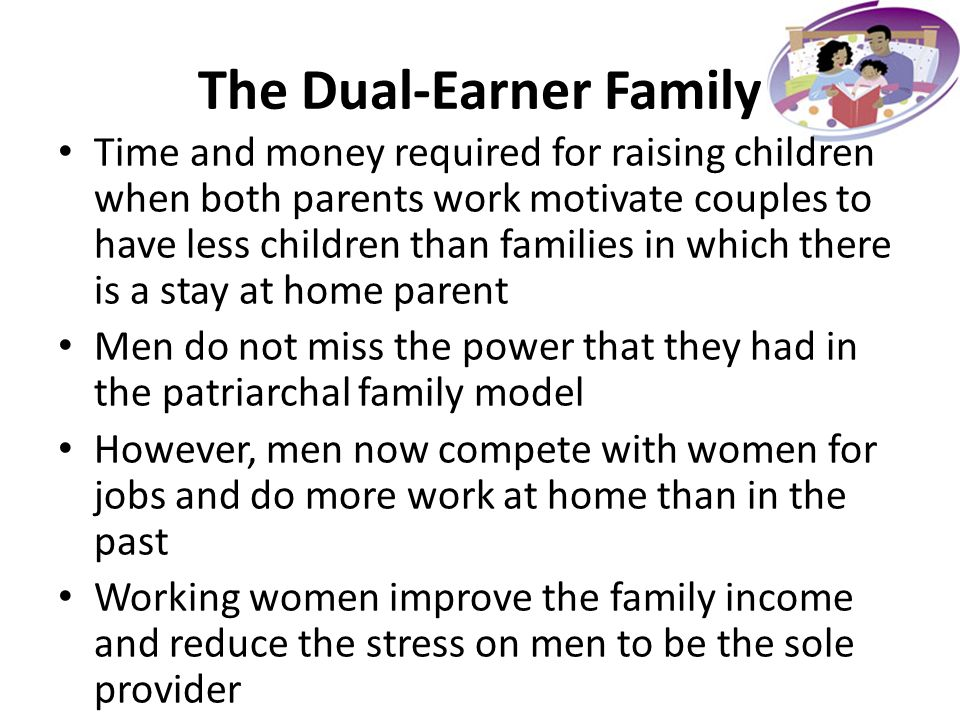 the dual earner family Historical background statistics in the united states, statistics from as early as 1989 report that 53% of married households were dual-earner couples.