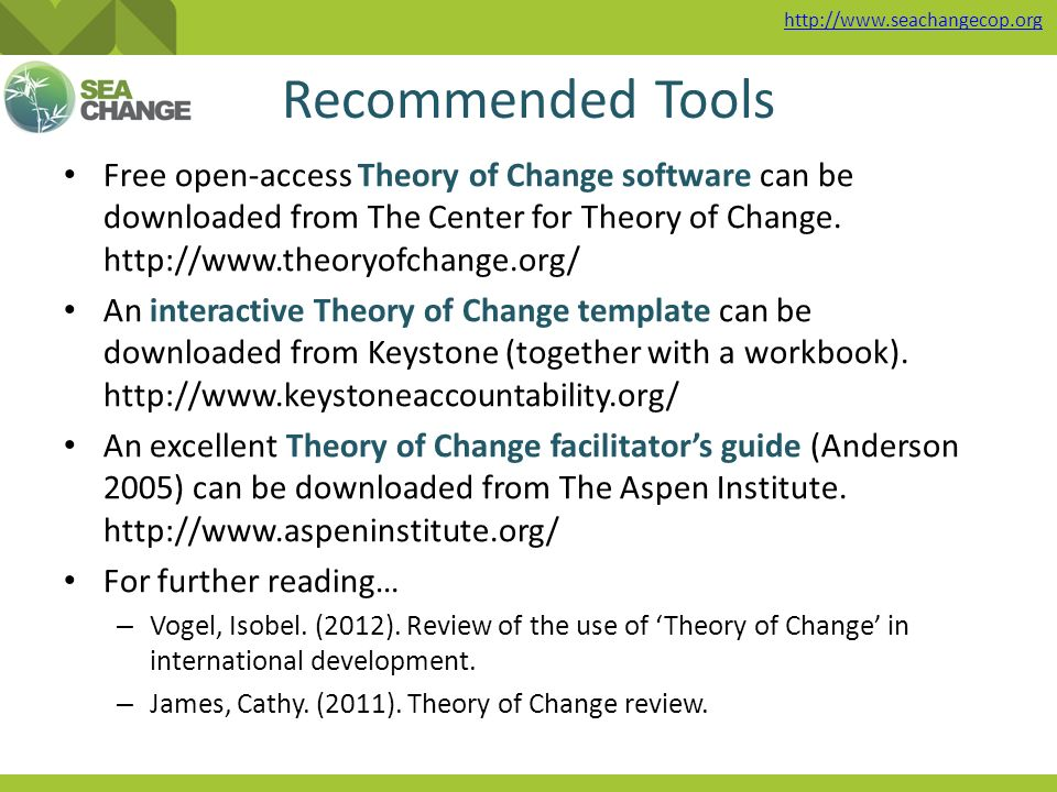 The theory of change approach ppt video online download 24 recommended tools free open access theory of change pronofoot35fo Choice Image