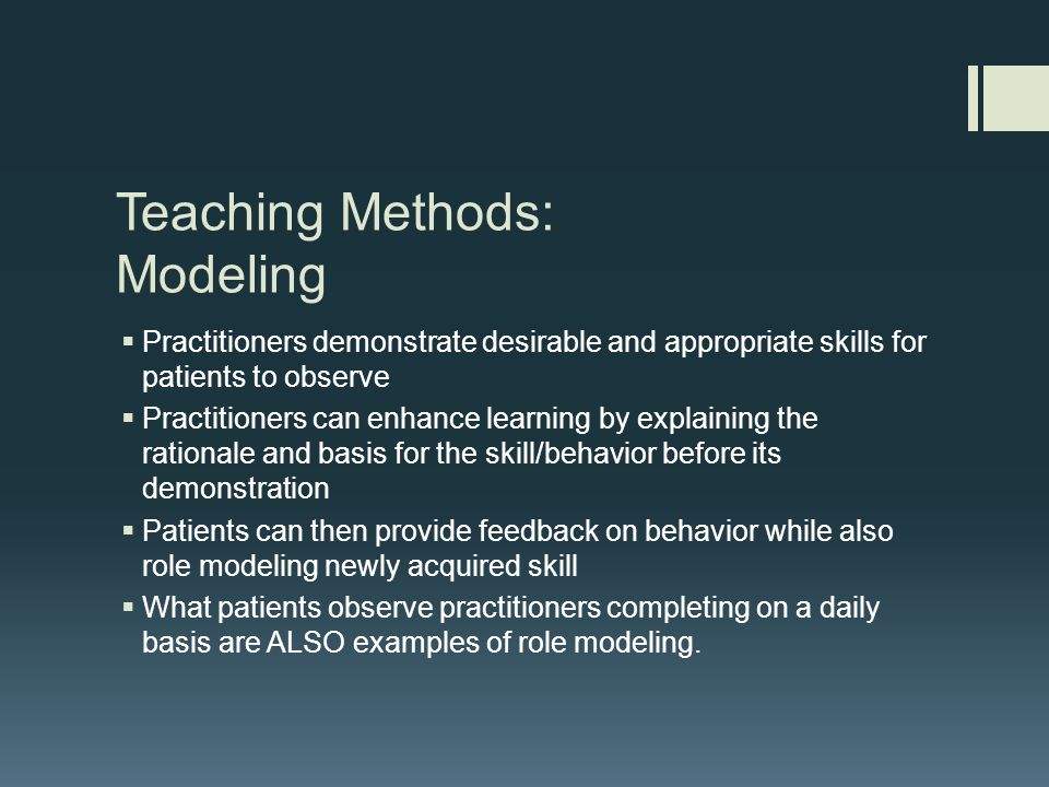the appropriate teaching method for the B describing the importance of changing positions while helping the patient turn combines nursing care and teaching speaking clearly and developing alternative communication methods, determining the patient's reading level and checking teaching materials for appropriate level, and assessing.