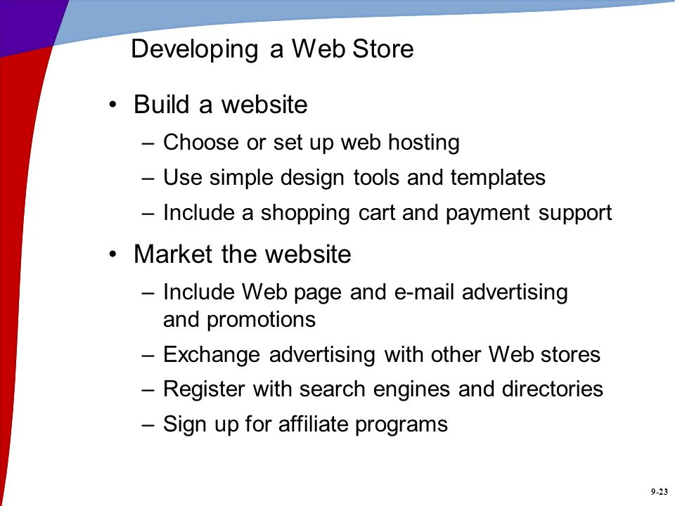 Developing a Web Store Build a website Market the website