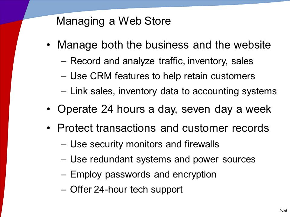 Manage both the business and the website