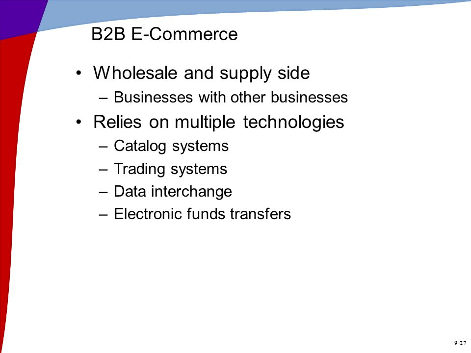 Wholesale and supply side Relies on multiple technologies