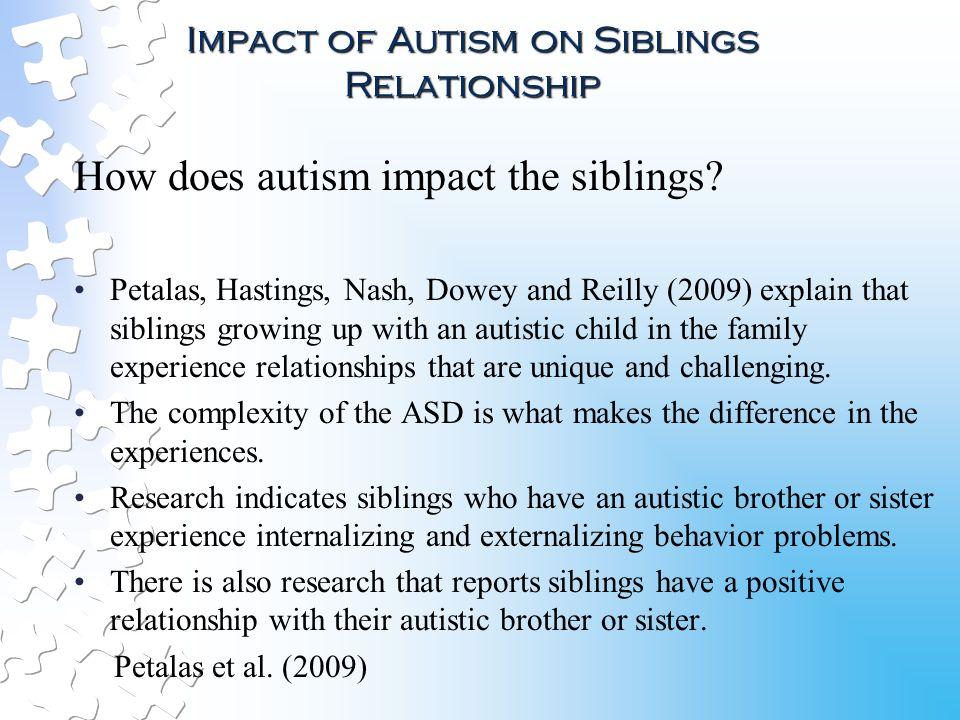 the impact of sibling relationship to a childs development Sibling rivalry and brotherly love siblings, and even sibling rivalry, can have a positive effect on children's early development and their ability to form social relationships later in life, according to a new study.