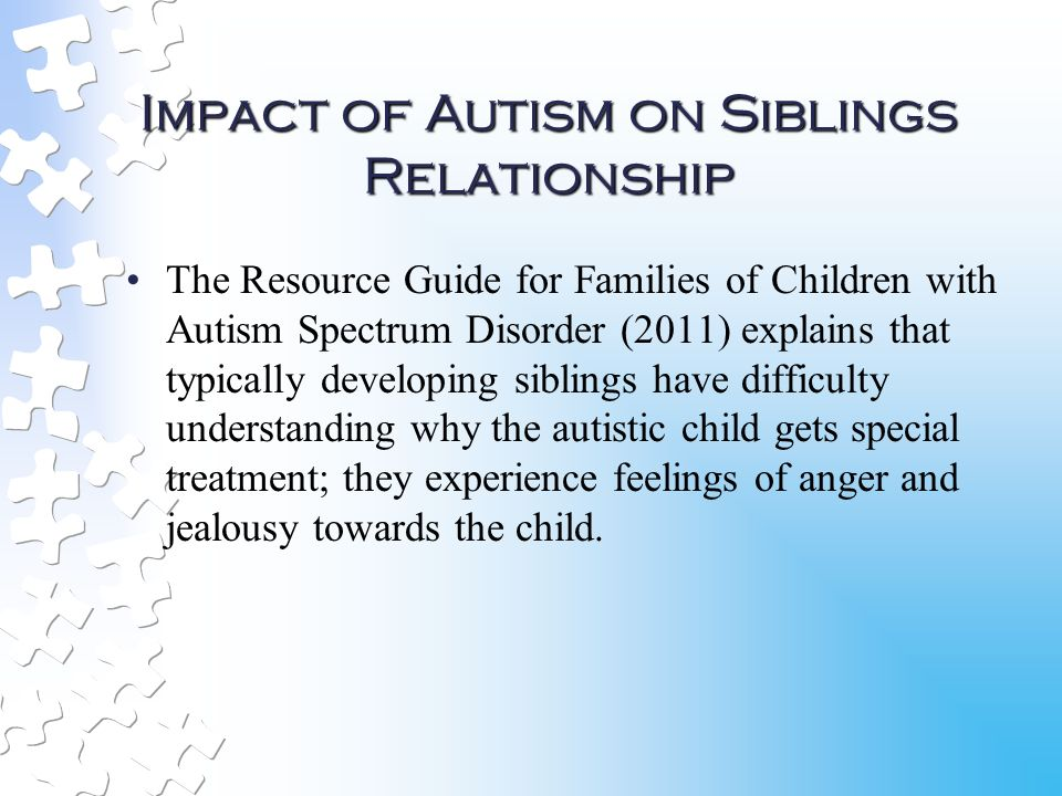 impact of autistic children on family The impact of social support and family resilience on parental stress in families with a child diagnosed with an autism spectrum disorder abstract.