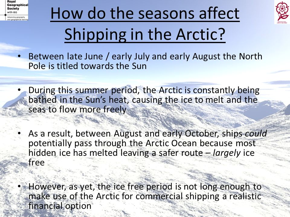 How do the seasons affect Shipping in the Arctic