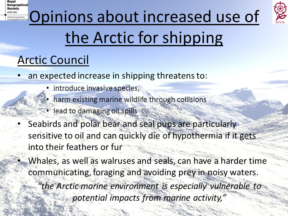 Opinions about increased use of the Arctic for shipping