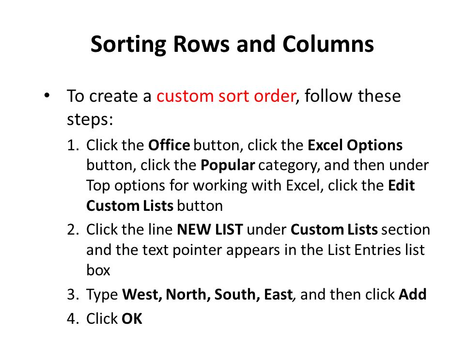 Sorting Rows and Columns