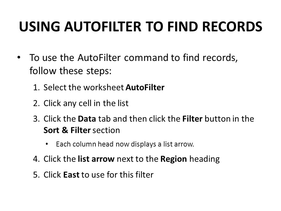 USING AUTOFILTER TO FIND RECORDS
