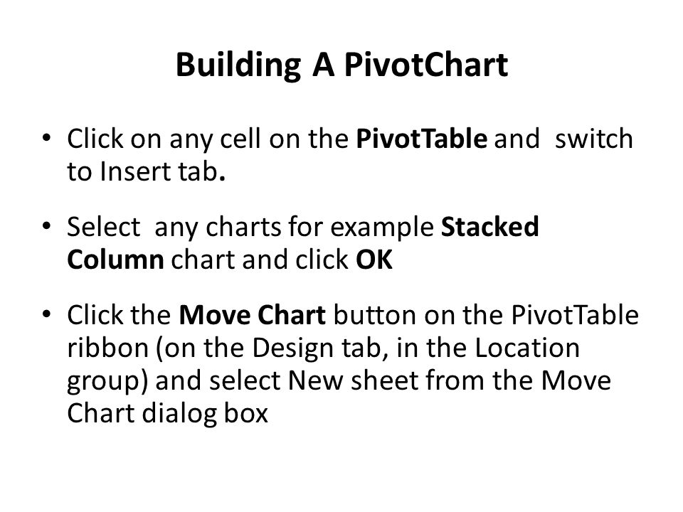 Building A PivotChart Click on any cell on the PivotTable and switch to Insert tab.
