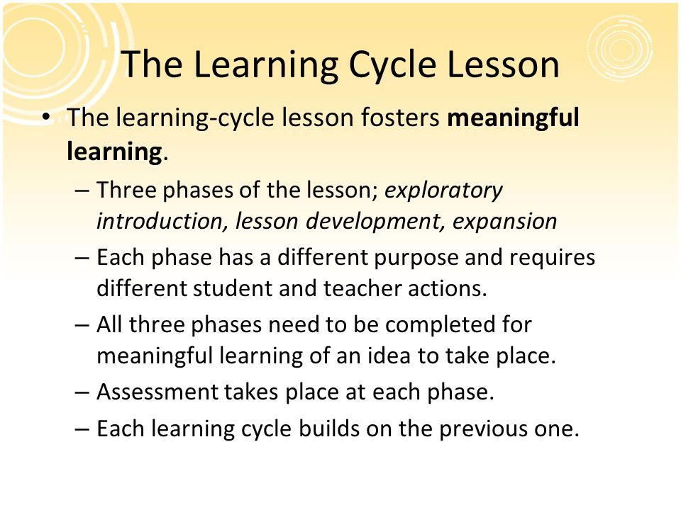The Learning Cycle Lesson